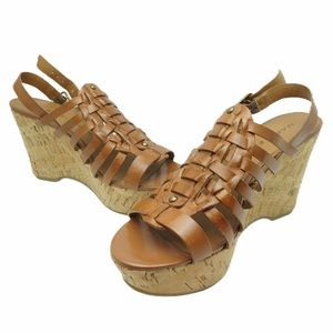 Marc Fisher size 7 tan sling back wedge sandals